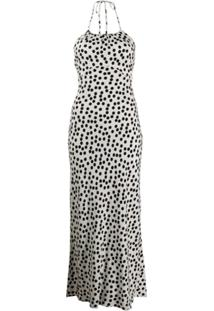 Rixo Polka Dot Print Dress - Branco