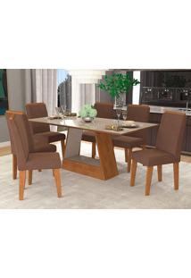 Conjunto De 6 Cadeiras Para Sala De Jantar 180X90 Alana/Milena-Cimol - Savana / Off White / Chocolate