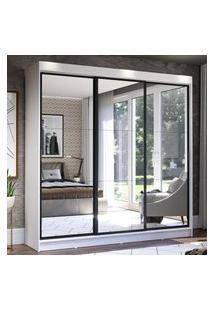 Guarda-Roupa Casal Madesa Istambul 3 Portas De Correr De Espelho 3 Gavetas - Branco/Preto Branco