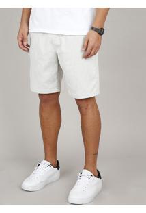 Bermuda Masculina Slim Com Bolsos E Cordão Off White