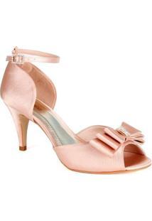 Sandália Com Laço E Strass Spaço Criativo Clássica - Feminino-Rosa