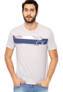 Camiseta Manga Curta Calvin Klein Jeans Metálico Cinza