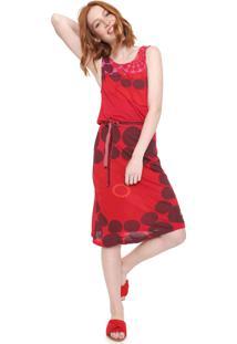 Vestido Desigual Midi Arsen Vermelho/Rosa