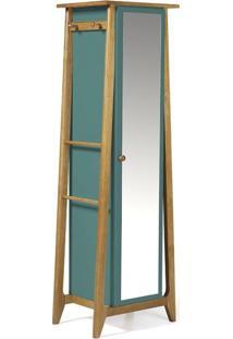 Sapateira Stoka Com Espelho Nogal E Azul Claro