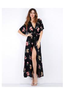 Vestido Longo De Chiffon Com Estampa De Rosas E Decote V - Preto