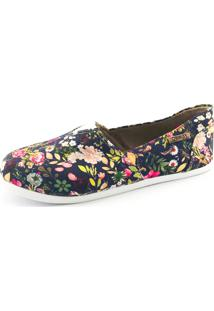 Alpargata Quality Shoes 001 Floral 200 Azul-Marinho