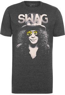 Camiseta Masculina Estampada Swag - Cinza