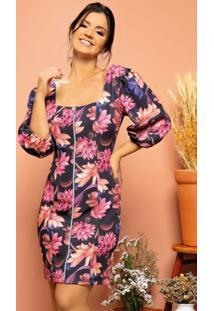 Vestido Floral Preto Decote Quadrado Com Zíper