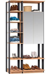 Guarda-Roupa Solteiro Modulado Clothes I Com Espelho 2 Pt Mel E Espresso