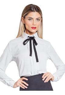 Camisa Com Gola Laço Principessa Gaia Off White De Poá