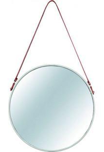 Espelho Redondo Decorativo 41 Cm Off White