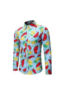 Camisa Masculina Estampa Summer Fruit - Azul
