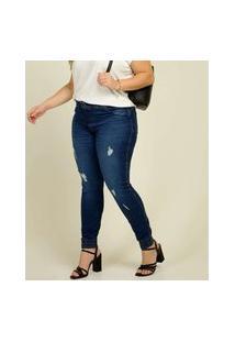 Calça Plus Size Feminina Jeans Puídos Skinny