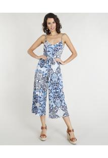 Macacão Pantacourt Feminino Estampado Com Amarração Azul