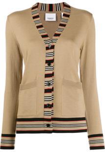 Burberry Icon Stripe-Trimmed Cardigan - Neutro