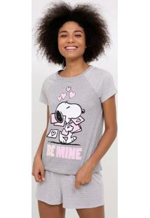Pijama Manga Curta Estampa Snoopy