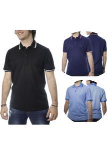 Kit Camisa Polo 3Pçs Laos Basic Preta/Azul