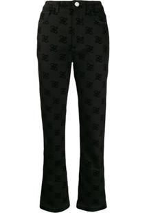 Fendi Calça Jeans Bootcut Karligraphy - Preto