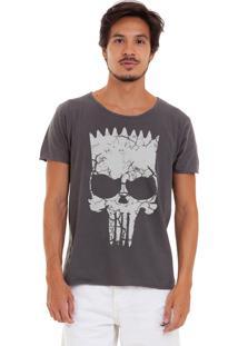Camiseta Estonada Corte À Fio Estampada Joss Vingasimp Chumbo