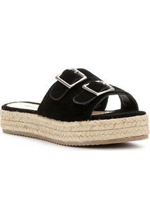 Sandália Shoestock Flatform Camurça Fivelas Feminina - Feminino-Preto