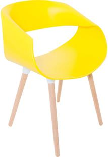 Cadeira Petra Encosto Curvo Sala De Jantar Amarela Pés Madeira - Facthus