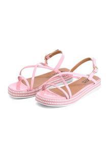 Sandália Plataforma Confort Rosa Com Tiras