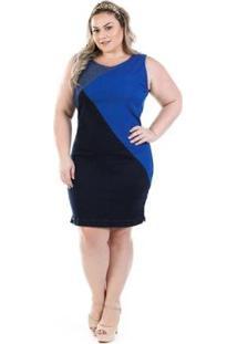 Vestido Jeans Regata Tricolor Plus Size - Feminino-Azul
