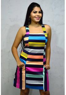 Vestido Curto Alças Argola Listrado Multicolor