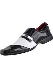 Sapato Social Cr Shoes Fashion Fino Preto/Branco