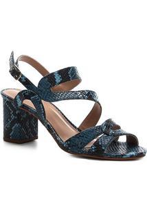 Sandália Shoestock Salto Bloco Snake Curves Feminina - Feminino-Azul