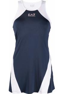 Ea7 Emporio Armani Vestido Com Recortes Vazados - Azul