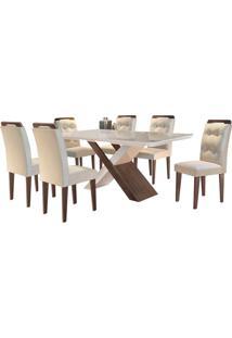 Sala De Jantar Imperatriz 1.80M Com 6 Cadeiras Café/Off White Veludo Bege