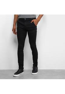 Calça Skinny Sarja Tbt Jeans Collor Masculina - Masculino-Preto