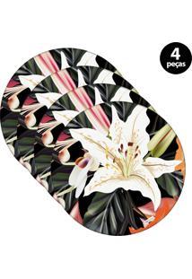 Sousplat Mdecore Floral 32X32Cm Preto 4Pçs