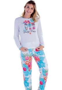 Pijama Victory Inverno Frio Longo Plush Feminino - Feminino-Azul Claro