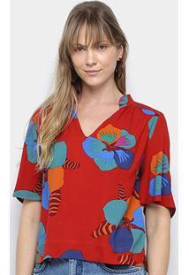 Blusa Cantão Estampada Feminina - Feminino-Vermelho