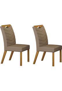Conjunto Com 2 Cadeiras Verona Imbuia Mel E Veludo Camurça