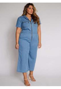 Macacão Almaria Plus Size Izzat Jeans Zíper Azul