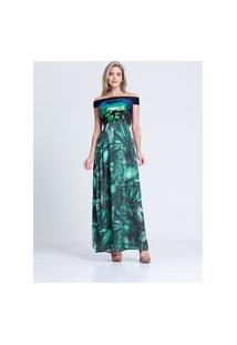 Vestido Clara Arruda Longo Top Paetes 50355 Verde