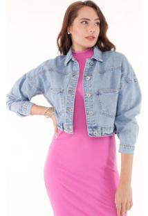 Jaqueta Jeans Oversized Pop Me - Azul - Feminino - Dafiti