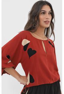 Blusa Cropped Maria Filó Coração Vermelha - Kanui