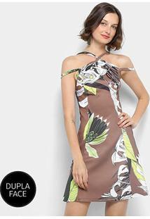 Vestido Dupla Face Forum Estampado Feminino - Feminino-Marrom Escuro+Branco