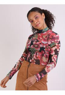 Blusa Em Tule Feminina Estampada Floral Manga Longa Preta