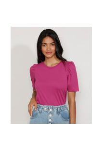 Camiseta Feminina Básica Manga Bufante Decote Redondo Roxa