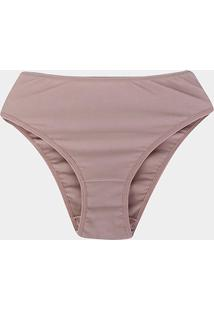 Calcinha Marcyn Alta Quenia Plus Size - Feminino-Marrom Claro