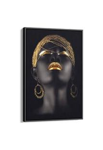 Quadro 60X40Cm Mulher Negra Maquiagem Dourada Beltza Moldura Flutuante Filete Preta