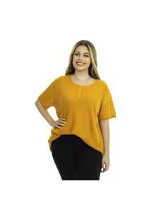Blusa Tricot Mara Feminina Shopping Do Tricô T-Shirt Botão
