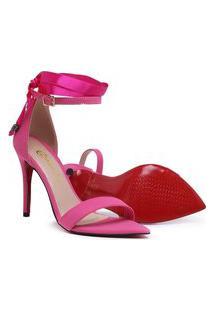 Sandália Feminina Salto Alto 10 Centímetros Bico Folha Pink