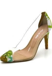 Sapato Scarpin Salto Alto Fino Em Tecido Abacaxi Com Transparência - Kanui