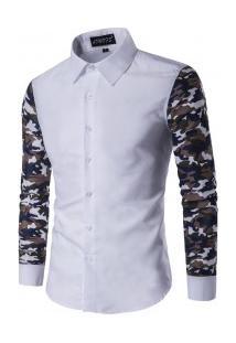 Camisa Masculina Slim Com Manga Longa Estampada - Branco